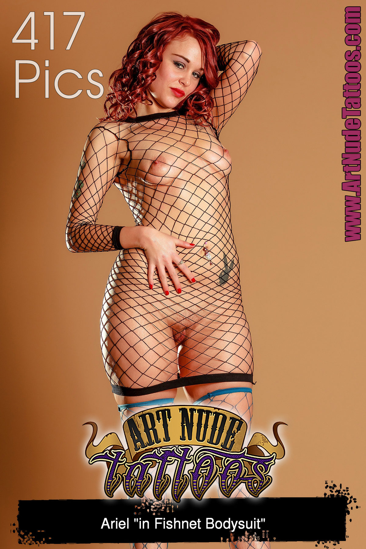 PHOTOSET Ariel in Fishnet Bodysuit